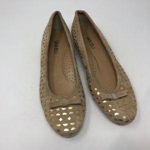 Van Eli Tan Metallic Gold Ballet Flats 8M